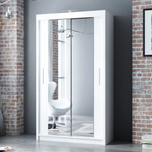 White 120cm Berlin Sliding Mirror Door Wardrobe