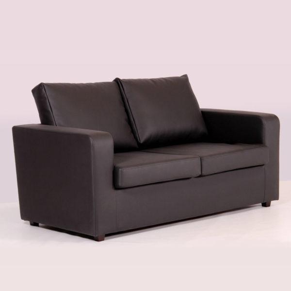 2 Seater Box Leather Sofa