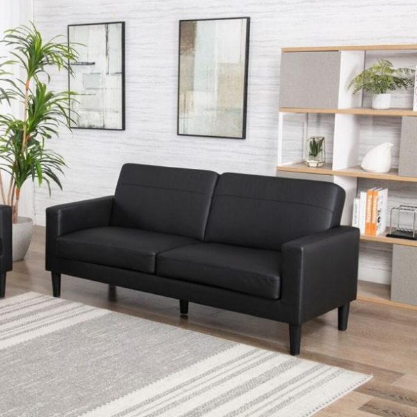 3 Seater Box Leather Sofa