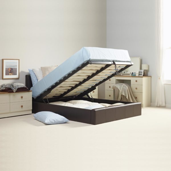 Double Leather Ottoman Storage Bed with Mattress