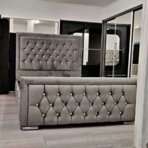 Grey Double Plush Velvet Heaven Bed