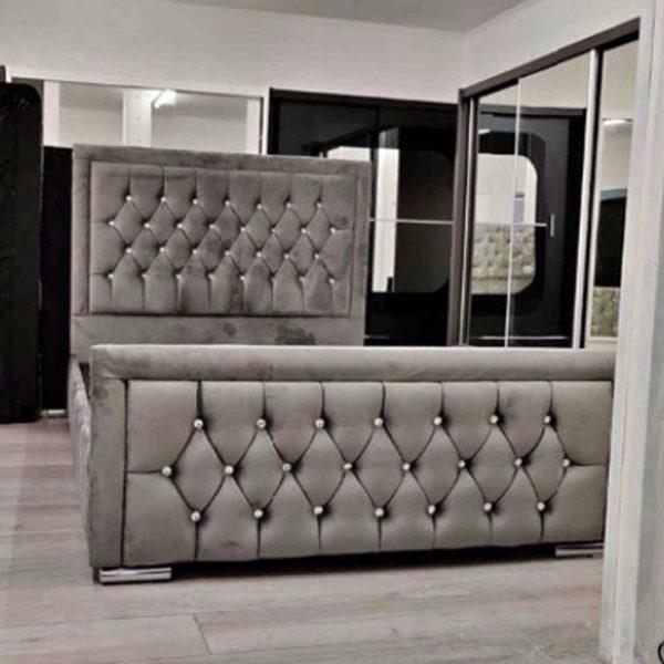 Grey Double Plush Velvet Heaven Bed