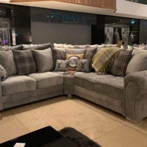 Grey Verona Corner Fabric Sofa for Sale