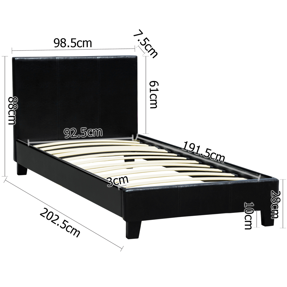 Single leather bed Dimensions