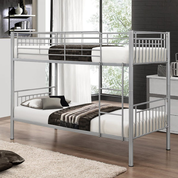 Silver single metal bunk bed