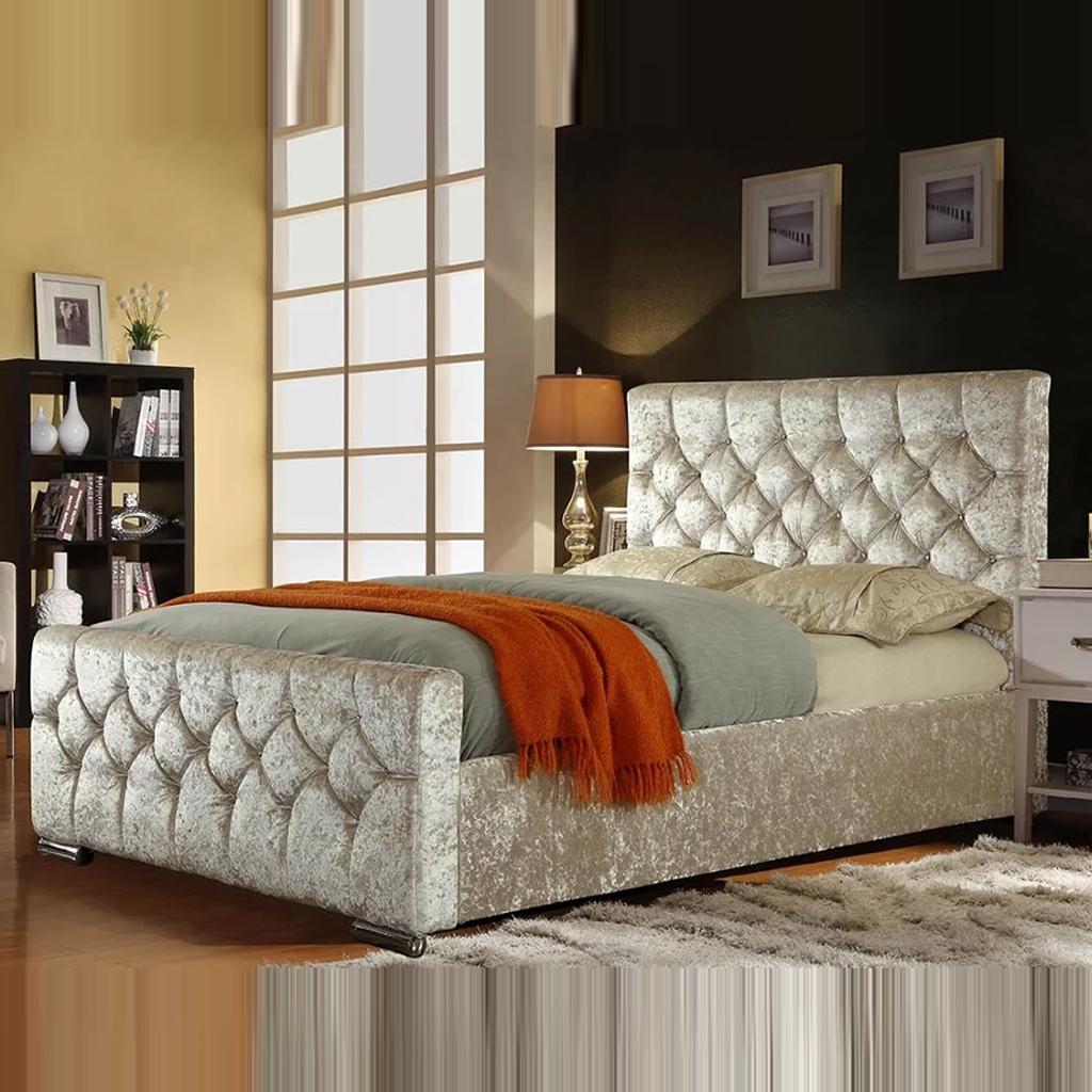 King Size Crushed Velvet Chesterfield Bed Frame   Soft ...
