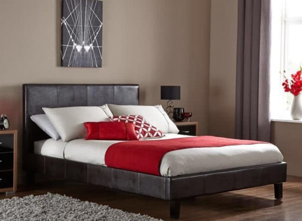 Brown Double Faux Leather Bed