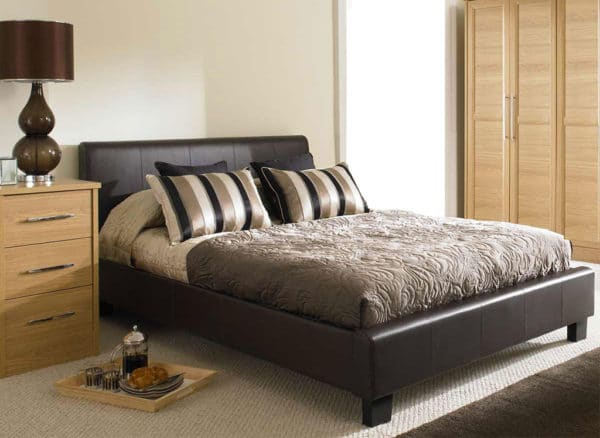Brown King Size Faux Leather Bed Frame