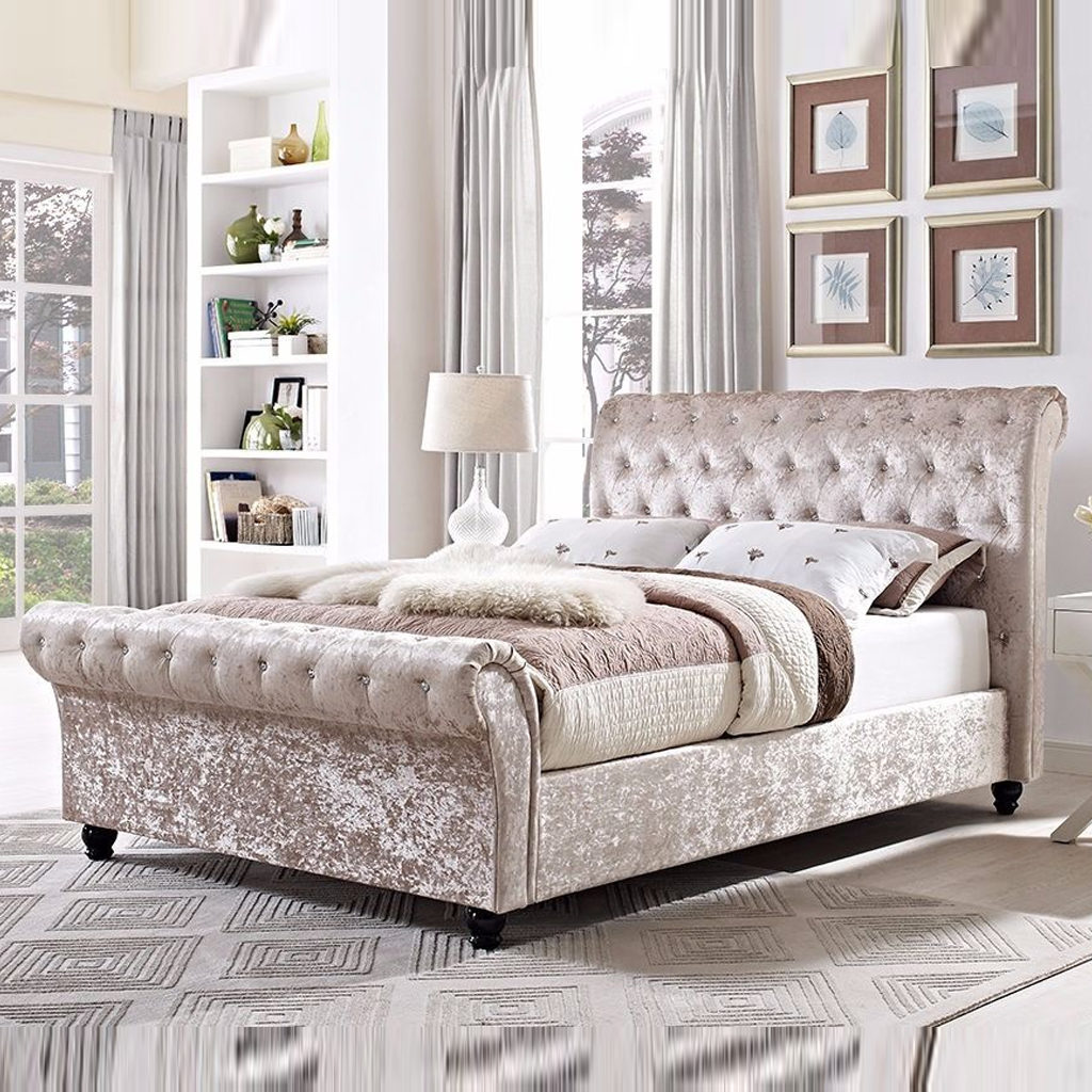 King Size Astral Sleigh Bed Frame Soft Touch Beds