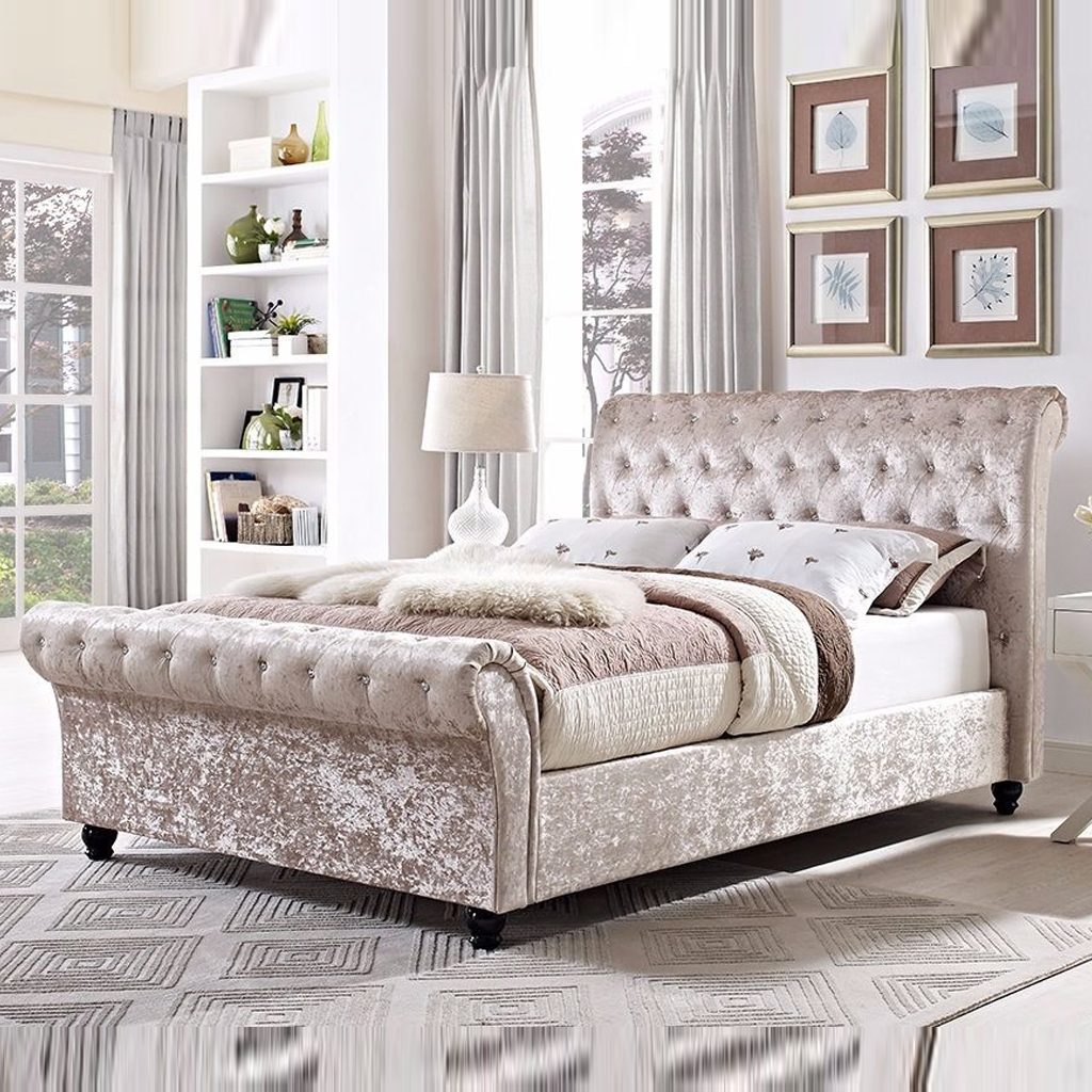 King Size Astral Sleigh Bed Frame - Soft Touch Beds