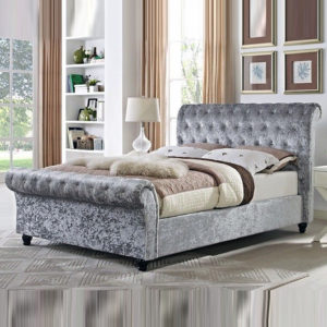 Single Crushed Velvet Astral Sleigh Bed
