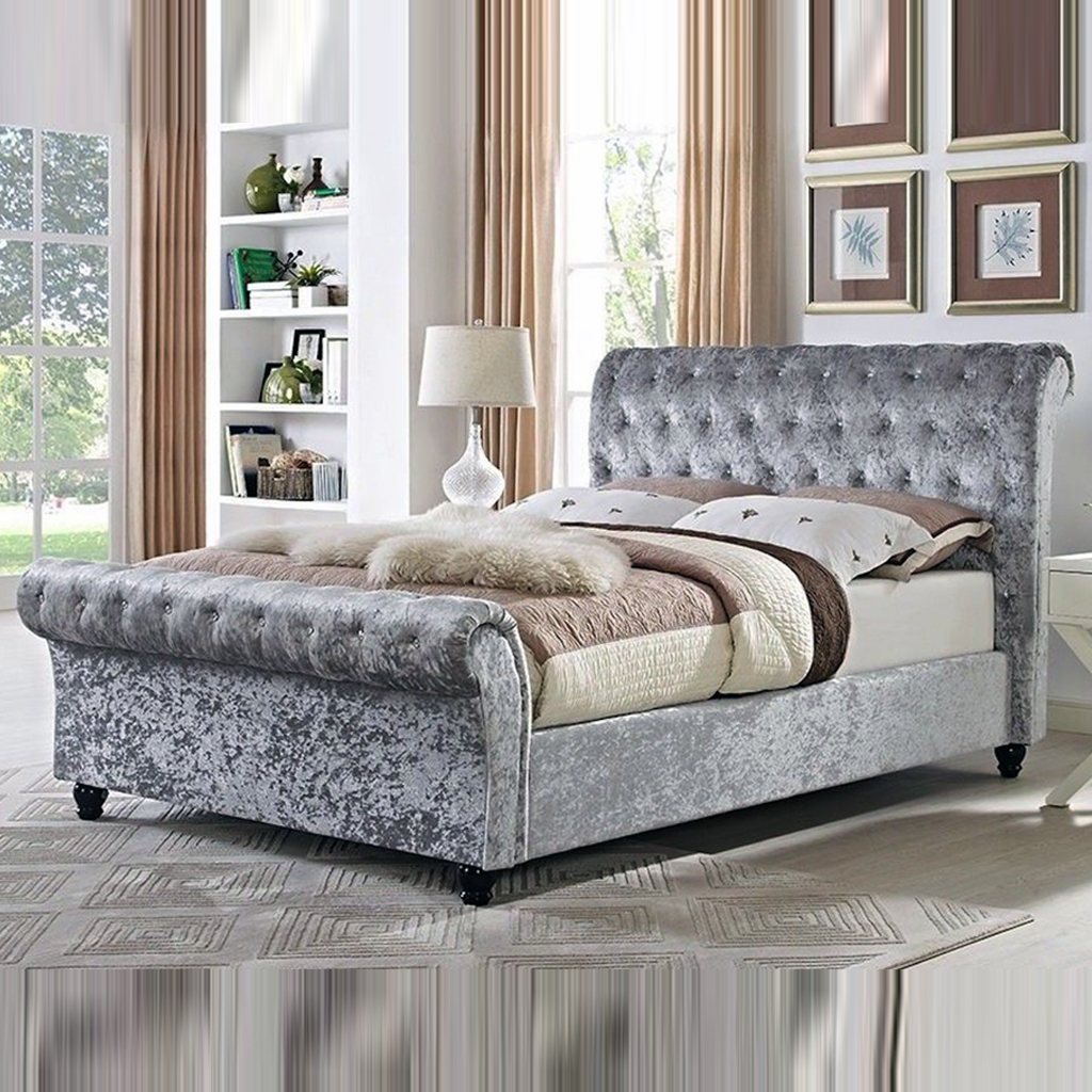 Single Crushed Velvet Astral Sleigh Bed   Soft Touch Beds