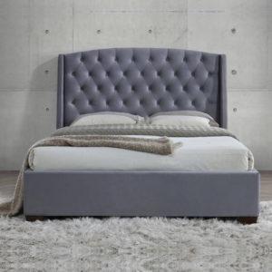 Balmoral Grey Velvet Fabric Winged Bed Frame