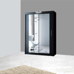 Black 150cm wide mirror sliding wardrobe