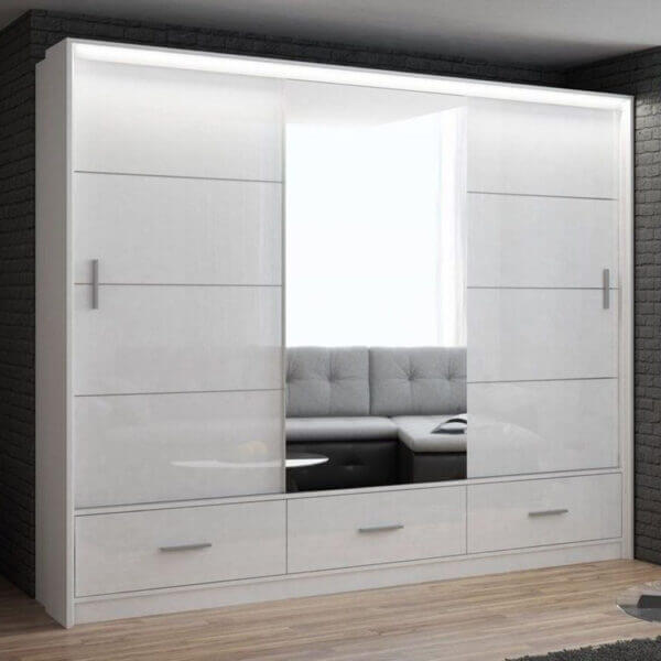 255cm High Gloss Marsylia Sliding Mirror Door Wardrobe