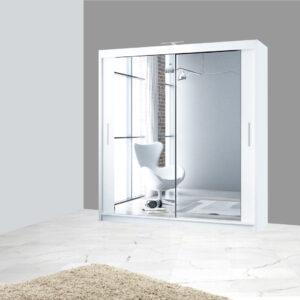 White 203cm Berlin Sliding Mirror Door Wardrobe