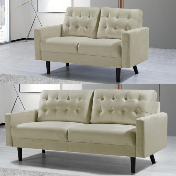 3 and 2 seater Mazz Velvet Sofa