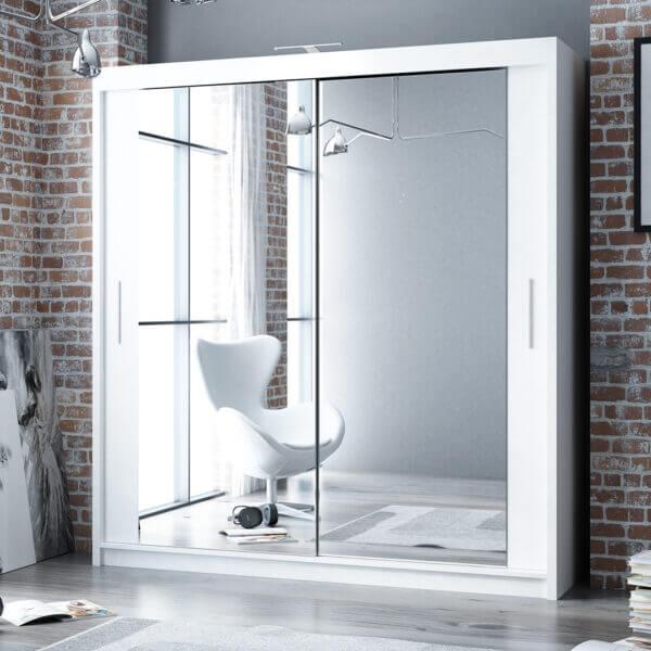 203cm Berlin Sliding Mirror Door Wardrobe