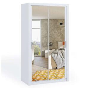 White 120cm Bonito Sliding Mirror Door Wardrobe