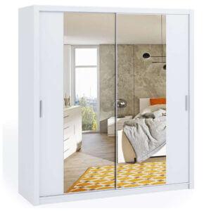 White 200cm Bonito Sliding Mirror Door Wardrobe