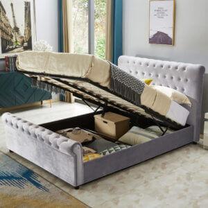King Size Plush Velvet Sleigh Ottoman Storage Bed
