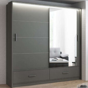 Grey Marsylia Sliding Mirror Door Wardrobe