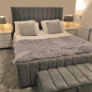 Plush Velvet Royal Wingback Bed