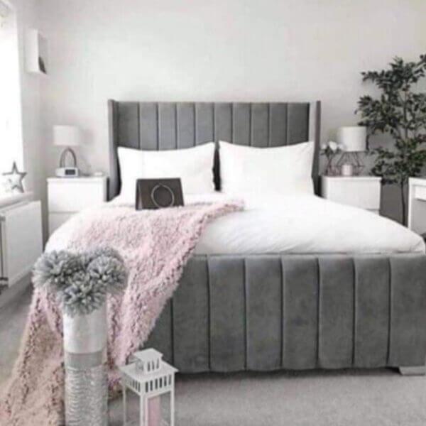 Plush Velvet Royal Wing Bed