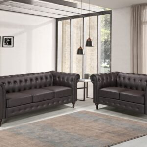 3+2 Seater PU Leather Chesterfield Sofa Set
