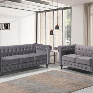 Grey Fabric Chesterfield Sofa
