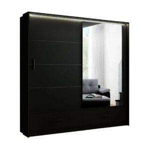 Black High Gloss Sliding Mirror Door Marsylia wardrobe