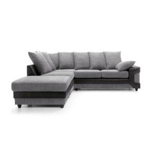 Dino Left Hand Corner Sofa - Black & Grey
