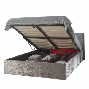 Grey Charlie Crushed Velvet Ottoman Storage Bed