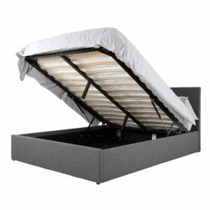 Grey Fusion Linen Ottoman Storage Bed